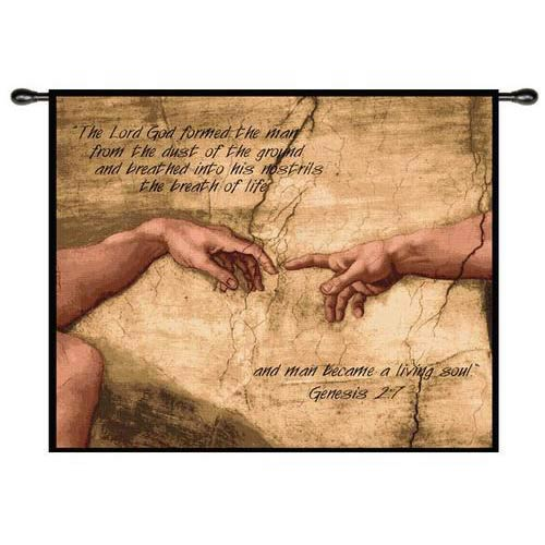 Pure Country Weavers Creation of Adam With Words Wall Tapestry