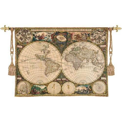 Wall tapestries decorative wall hangings bellacor old world map tapestry wall hanging gumiabroncs Gallery