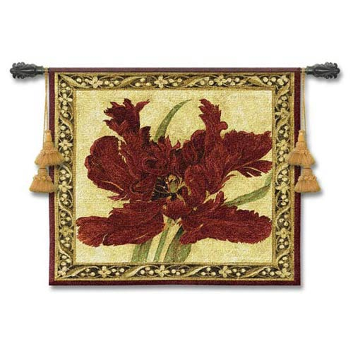 Fire Red Tulip Woven Wall Tapestry