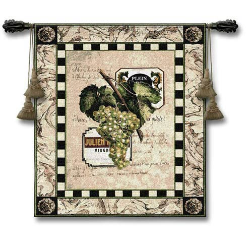Grapes & Labels I Woven Wall Tapestry