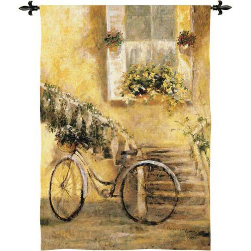 Courtyard Bicycle Tapestry Wall Hanging