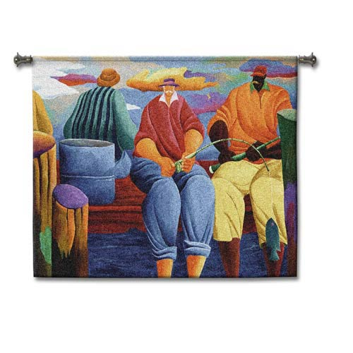 Pier Fishing Woven Wall Tapestry