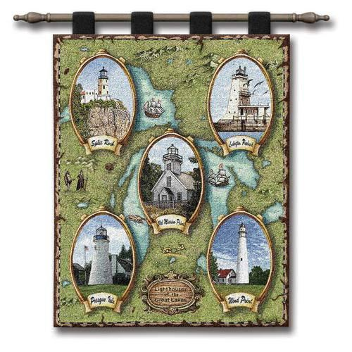 Lighthouses Of The Great Lakes Ii Wall Tapestry