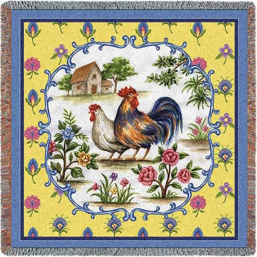 Country Roosters Lap Square