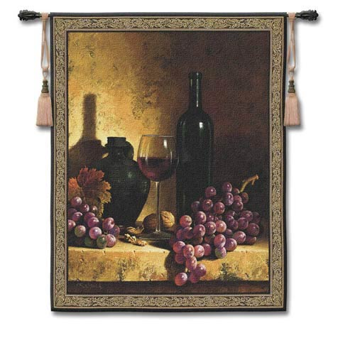 Wine Bottle with Grape Large Woven Wall Tapestry