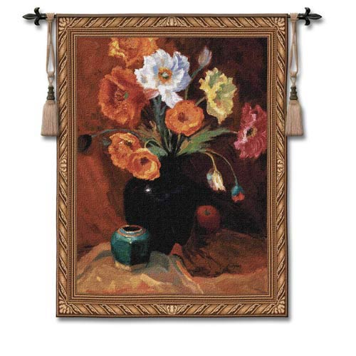 Poppies In Black Woven Wall Tapestry