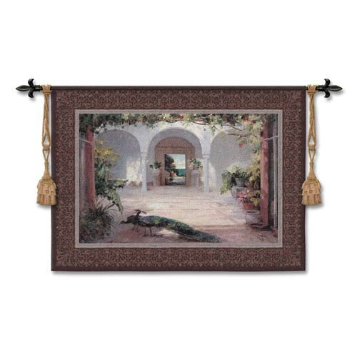 Sunlit Courtyard Small Woven Wall Tapestry