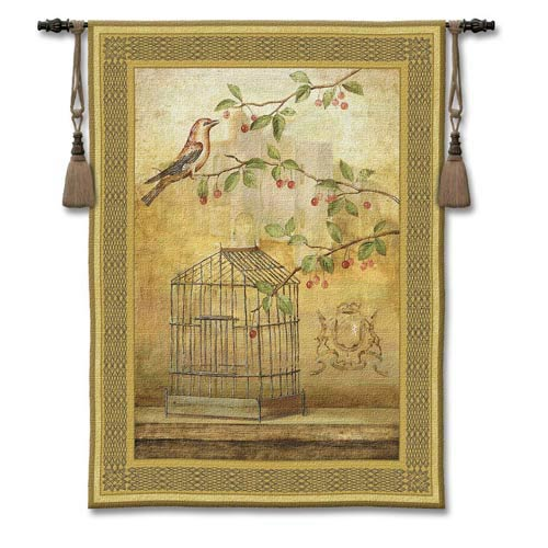 Oiseau Cage Cerise I Woven Wall Tapestry