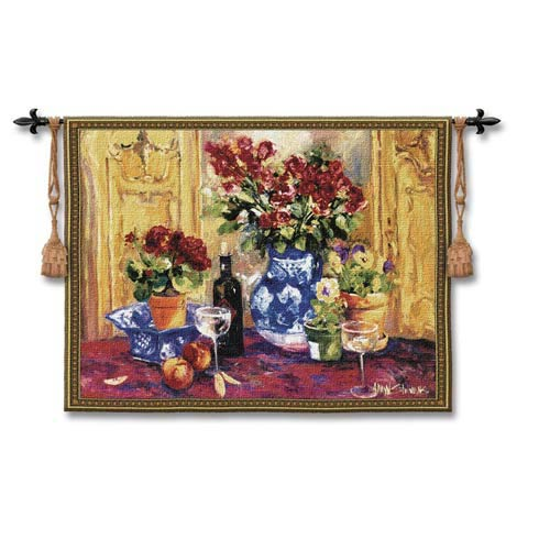 Red Roses With Wine Woven Wall Tapestry