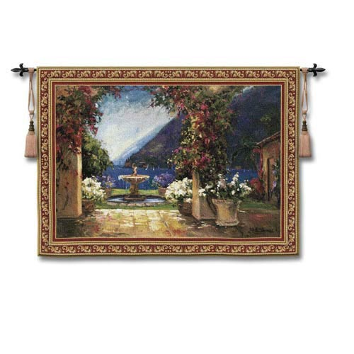 Seaside Fountain Small Woven Wall Tapestry