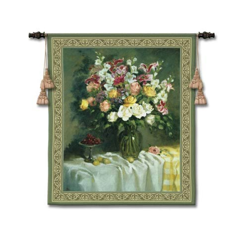Roses And Sea Grapes Woven Wall Tapestry