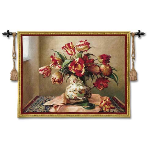 Tulips In Oriental Vase Woven Wall Tapestry