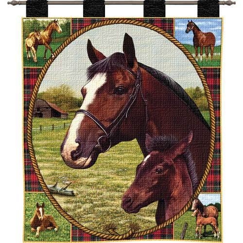 Pure Country Weavers Thoroughbred Mare and Foal Wall Tapestry