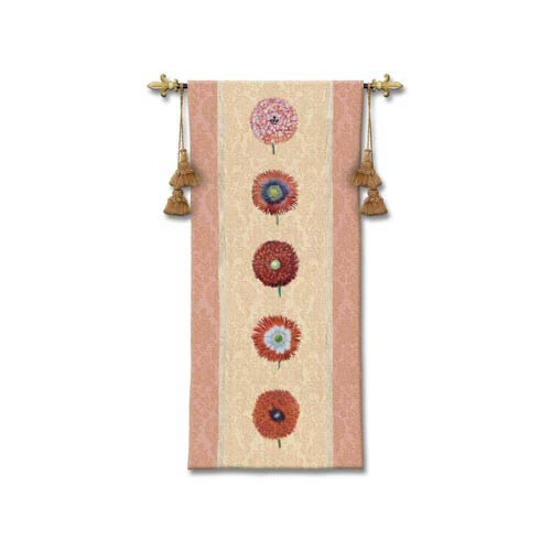 Floating Botanical Apricot Woven Wall Tapestry