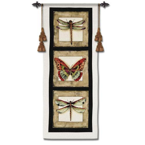 Butterfly Dragonfly II Woven Wall Tapestry
