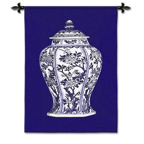 Oriental Blue I Small Woven Wall Tapestry