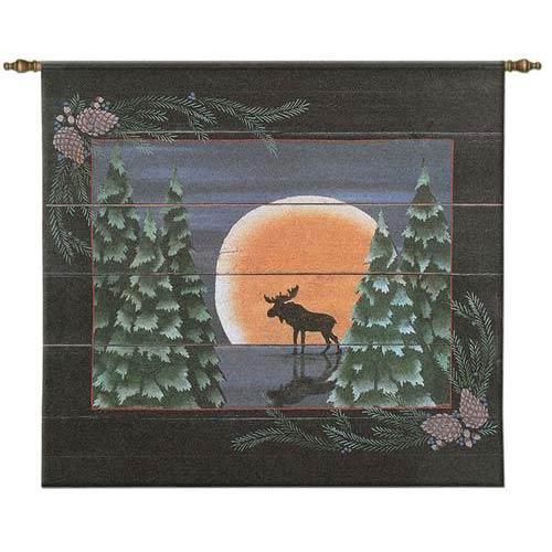 Moonlight Moose Tapestry Wall Hanging