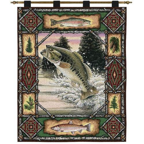 Pure Country Weavers Fish Lodge Bass Wall Tapestry