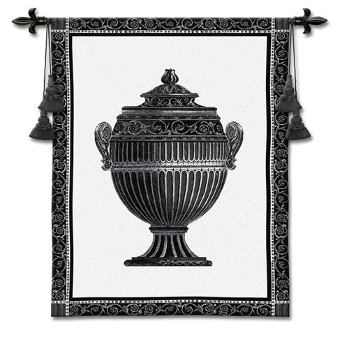 Empire Urn I Noir Woven Wall Tapestry