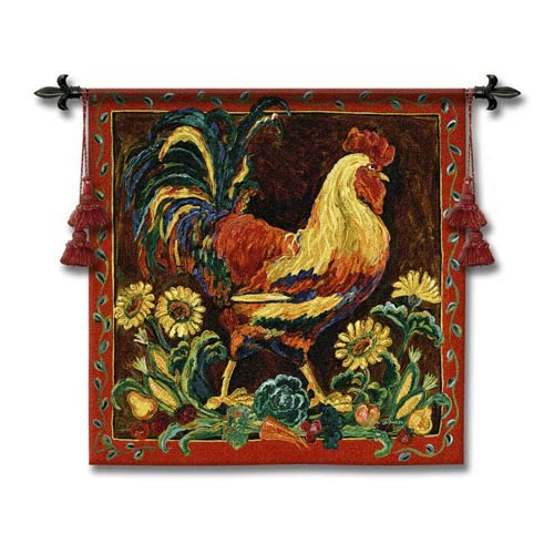 Rooster Rustic Woven Wall Tapestry