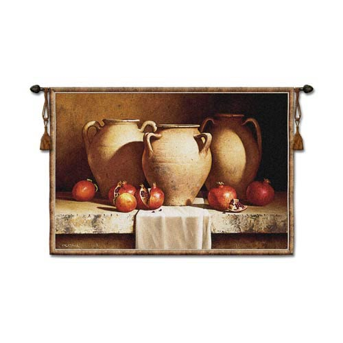 Urns With Persimmons Woven Wall Tapestry