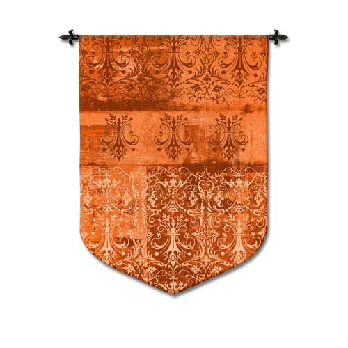 Abstract Damask Persimmon Woven Wall Tapestry