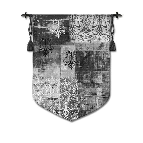 Abstract Damask Brushed Steel Woven Wall Tapestry