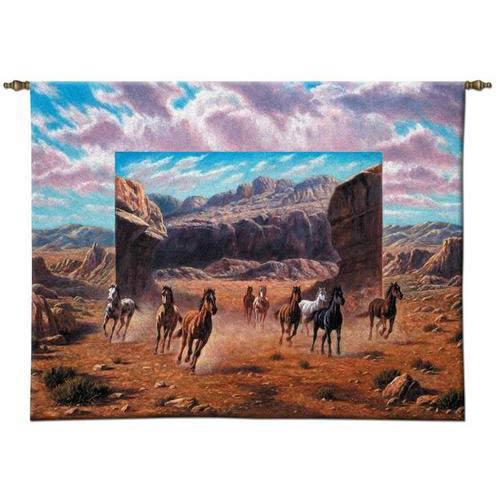 Running Horses Small Wall Tapestry