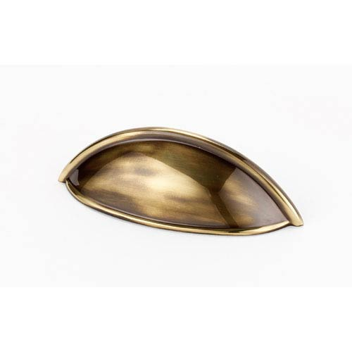 Polished Antique Brass 3 1/2-Inch Cup Pull