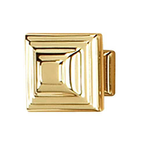 Geometric Polished Brass Square Knob