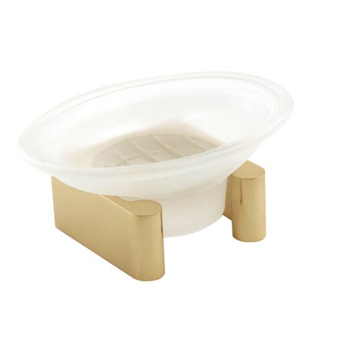 Luna Unlacquered Brass Counter Top Soap Dish with Glassware