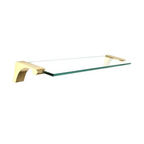Luna Unlacquered Brass 18-Inch Glass Shelf With Brackets