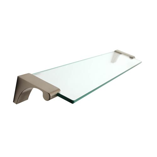 Luna Satin Nickel 18-Inch Glass Shelf With Brackets