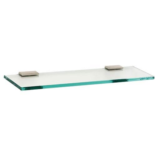 Arch Satin Nickel 18-Inch Glass Shelf w/Brackets