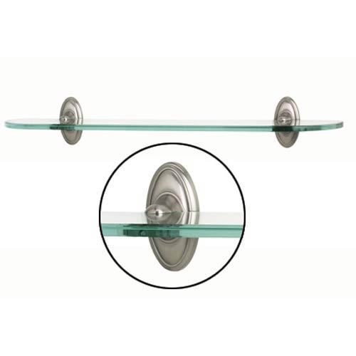 Alno, Inc. Classic Traditional 18-Inch Satin Nickel Glass Shelf