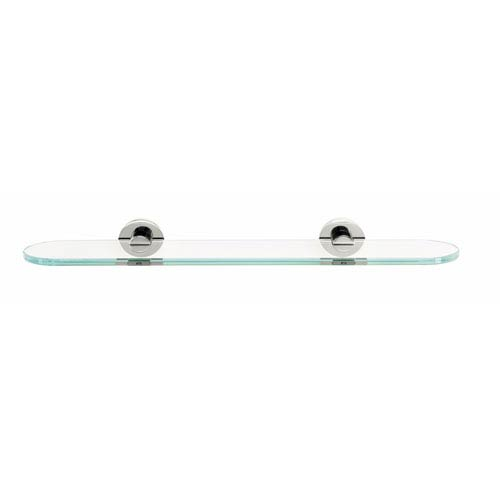 Contemporary I Satin Nickel 24-Inch Glass Shelf w/Brackets