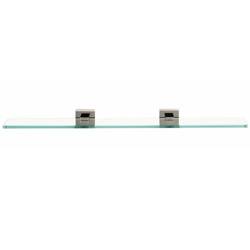 24-Inch Contemporary II Satin Nickel Glass Shelf