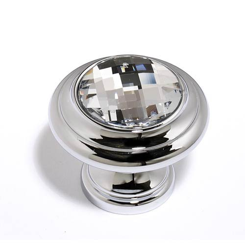 Crystal Polished Chrome 20 mm Round Knob
