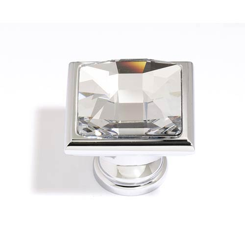Crystal Polished Chrome 25 mm Large Square Knob