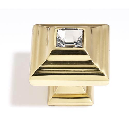 Alno, Inc. Crystal Gold 10 mm Small Square Knob