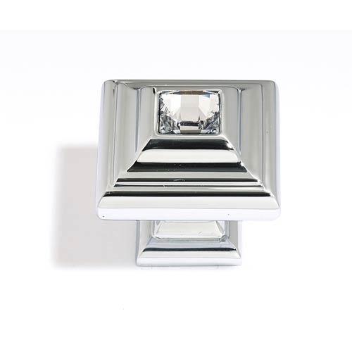 Crystal Polished Nickel 10 mm Small Square Knob
