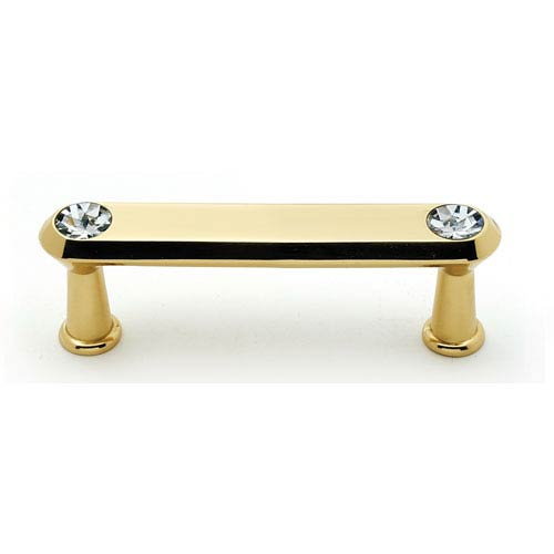 Polished Brass 3-Inch Crystal Pull