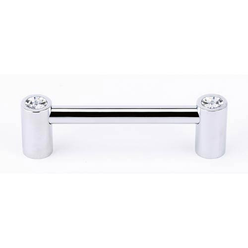 Contemporary Polished Chrome 3 1/2-Inch Crystal Pull