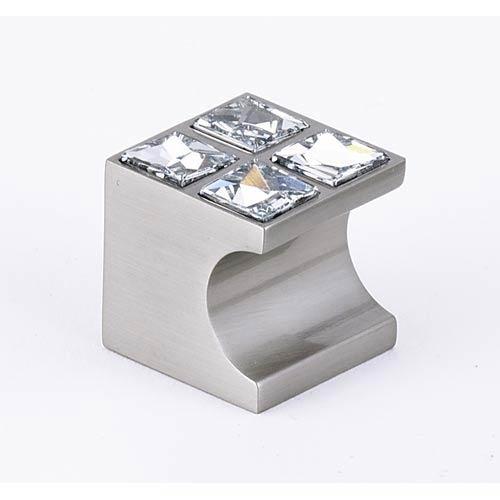 Contemporary II Satin Nickel 1-Inch Knob with 4 Crystals
