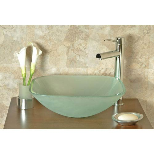Marvelous Cantrio Koncepts GS 101F Square Frosted Glass Vessel Sink