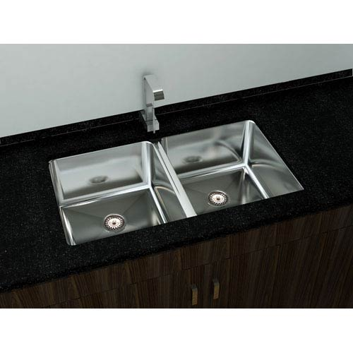 Kitchen Series Steel 32-Inch Double Bowl Undermount Sink