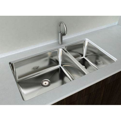 Kitchen Series Steel 33-Inch Double Bowl Undermount Sink