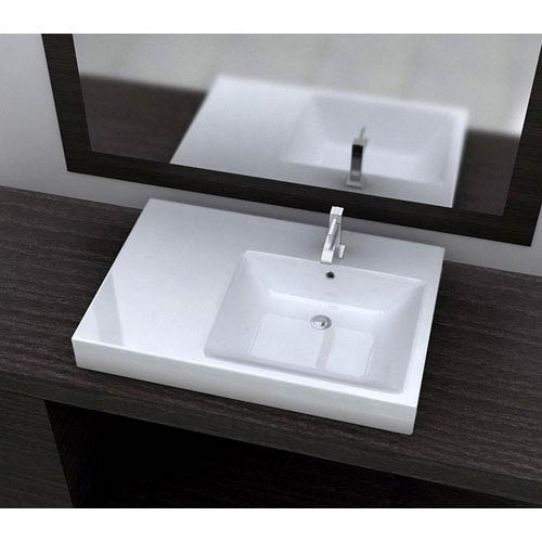Cantrio Koncepts Vitreous China Series White and Glossy 7-Inch Bathroom Sink with Overflow