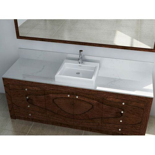 Vitreous China Series White and Glossy 4.5-Inch Vessel Bathroom Sink with Overflow