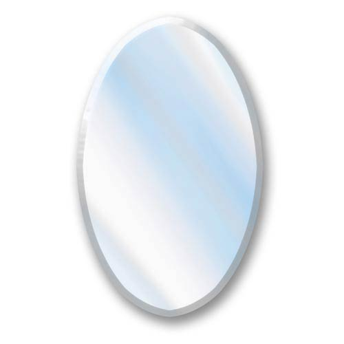 Large Frameless Beveled Oval Decorative Mirror